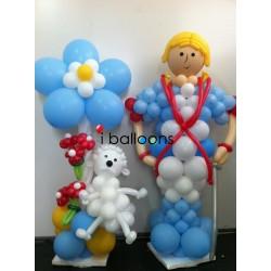 Ειδική σύνθεση μπαλονιών, Μικρός Πρίγκηπας με το Σκυλάκι του, για βάπτιση αγόρι, στην Πετρούπολη Μπαλόνια Βάπτισης Special